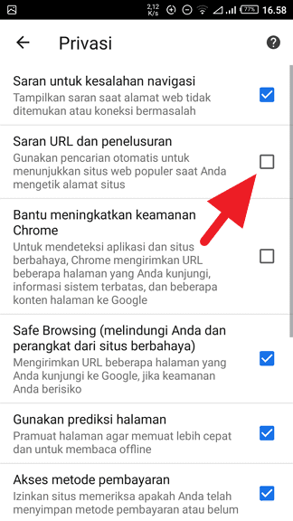 Membersihkan Saran Pencarian di Chrome (PC & ANDROID) - Mematikan Saran Penelusuran Chrome Android 3