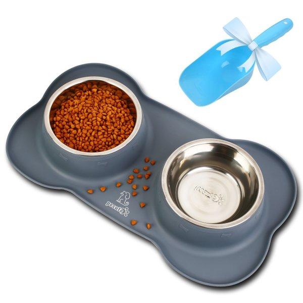 Ciotole per Cani e Gatti in Acciaio Inox con Tappetino Silicone Antiscivolo Pecute