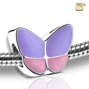 Butterfly Wings Pink Lavender Sterling Silver Bead Cremation Pendant