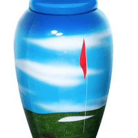 Golf hand painted aluminum urn