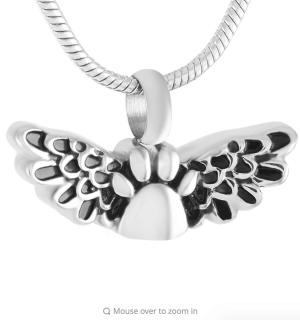 Stainless Steel Paw Print Angel Wings