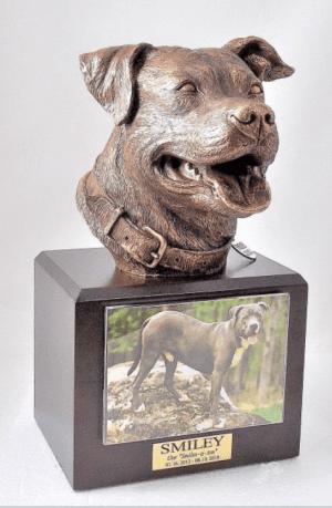 Pit Bull Walnut Stain Urn