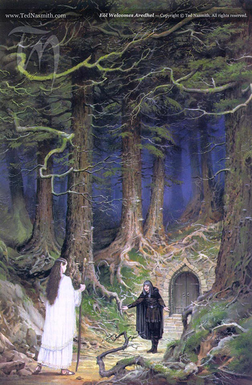 Eˆl Welcomes Aredhel, by Ted Nasmith