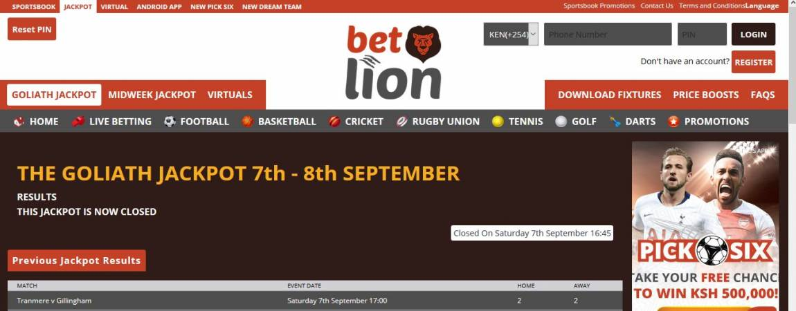 Betlion Goliath Jackpot Predictions