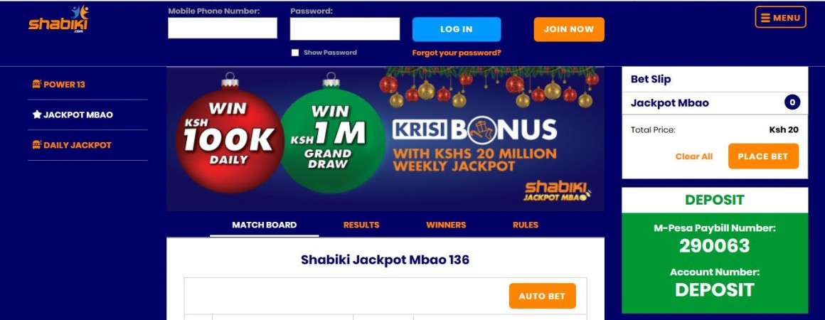 Shabiki Jackpot Mbao Results, Bonuses and Winners