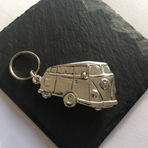 VW Camper Van key ring, Handmade UK Modern English Pewter, VW Camper van keychain