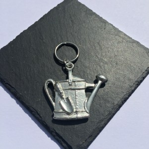 Watering Can key ring (with Trowel), Handmade UK Modern English Pewter, Watering Can Keychain