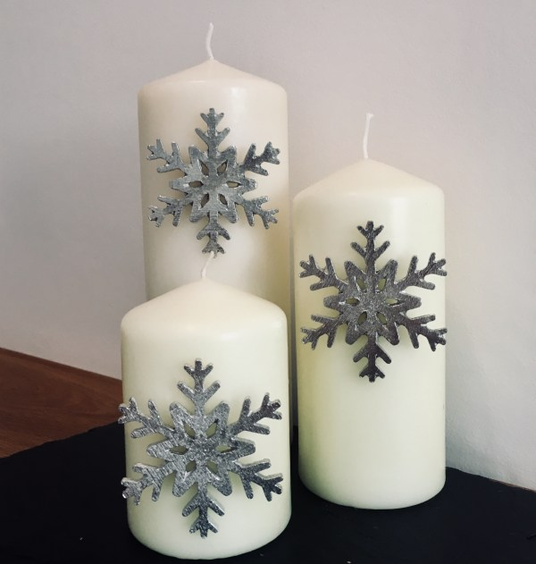 Snow flake silver candle decor, silver snowflake decor, snow flake candle decor
