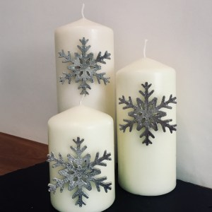 Snowflake Candle Decor (Set of 3), Handmade UK Modern English Pewter, Snowflake Candle Pins