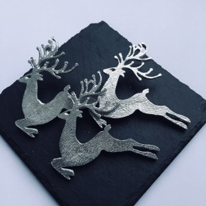 Reindeer Stag Candle Decor (Set of 3), Handmade UK Modern English Pewter, Festive Candle Pins