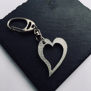 Heart bag charm, Handmade UK Modern English Pewter, heart keychain