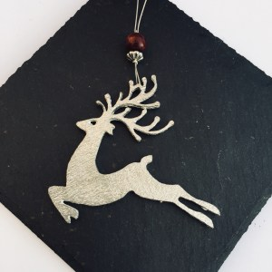 Reindeer Christmas Decoration, Hanging Stag Decoration, Pewter Christmas Decoration