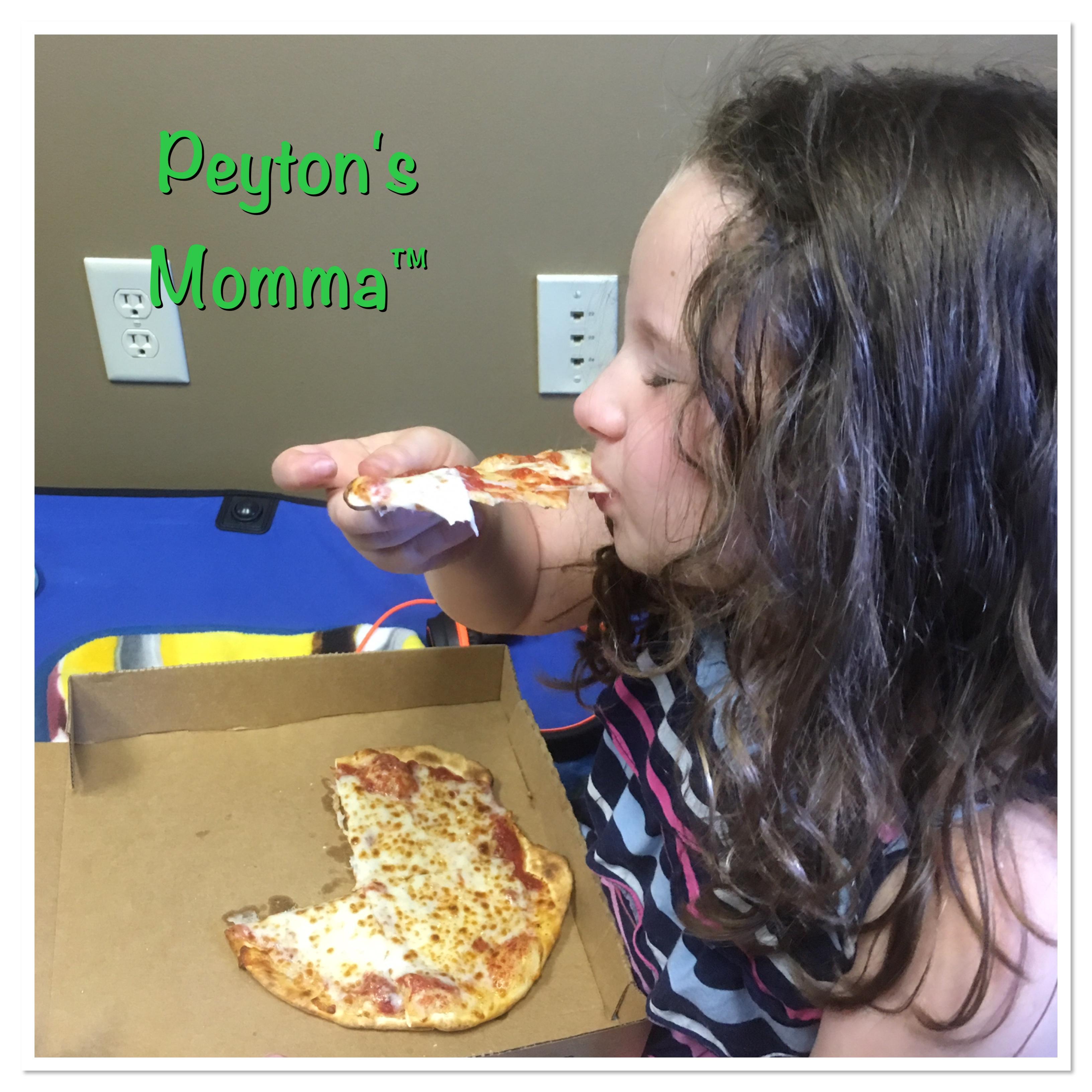 Peyton Eating Pie Five Pizza