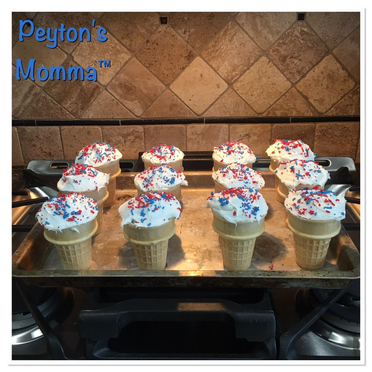 Patriotic Cupcake Ice Cream Cones