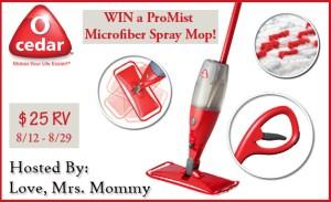 O-Cedar ProMist Microfiber Spray Mop Giveaway