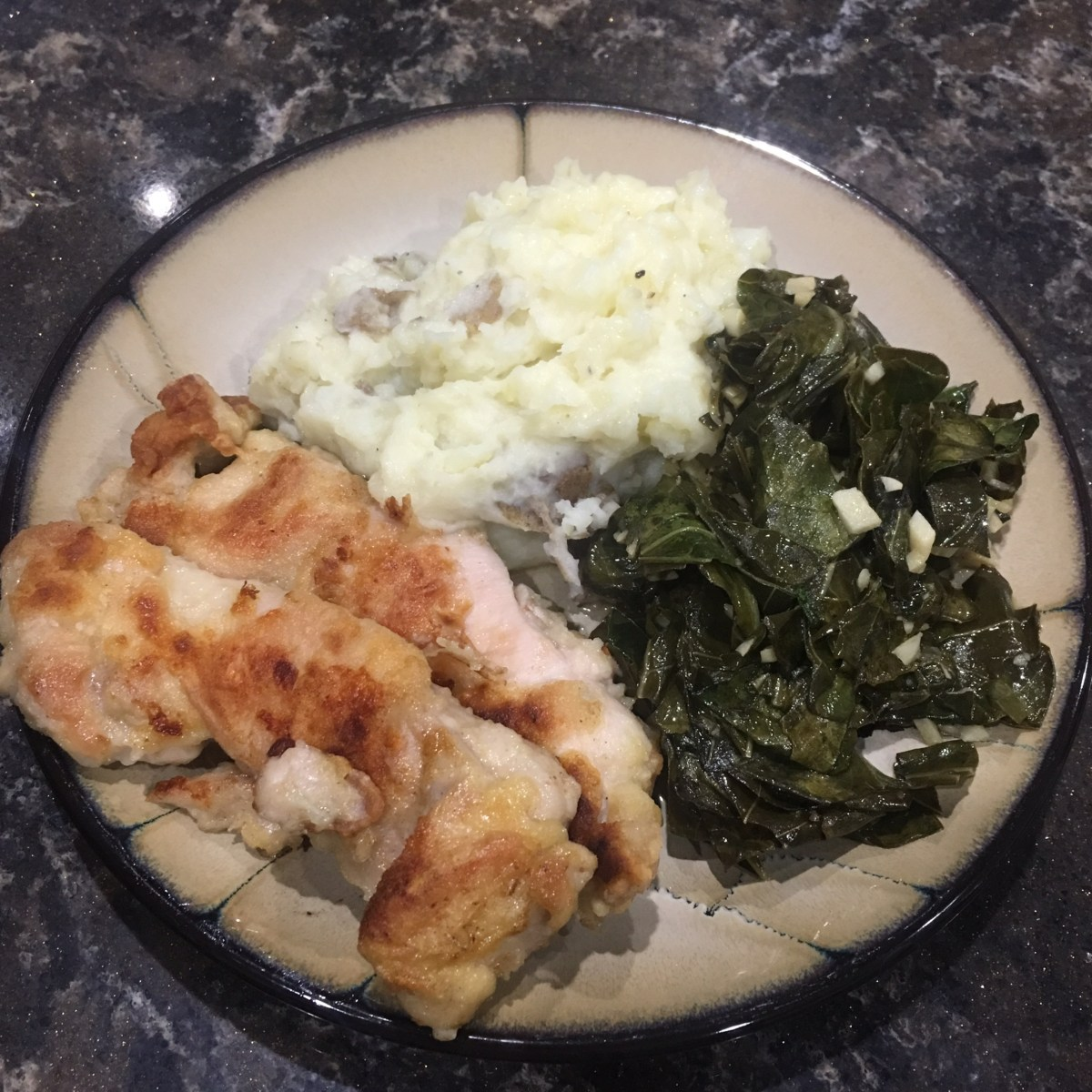Crispy Chicken with Mashed Potato and Spicy Collard Greens Blue Apron