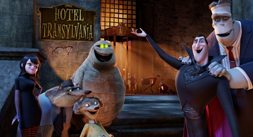 HOTEL TRANSYLVANIA - Dracula, who operates a high-end resort away from the human world, goes into overprotective mode when a boy discovers the resort and falls for the count's teenaged daughter. (Columbia Pictures Corporation) MAVIS, WAYNE, WANDA, MURRAY, DRACULA, FRANK