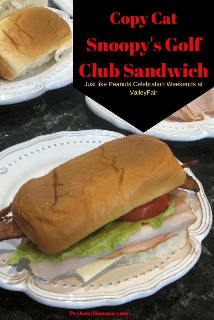 Snoopy's Golf Club Sandwich Pinterest Graphic