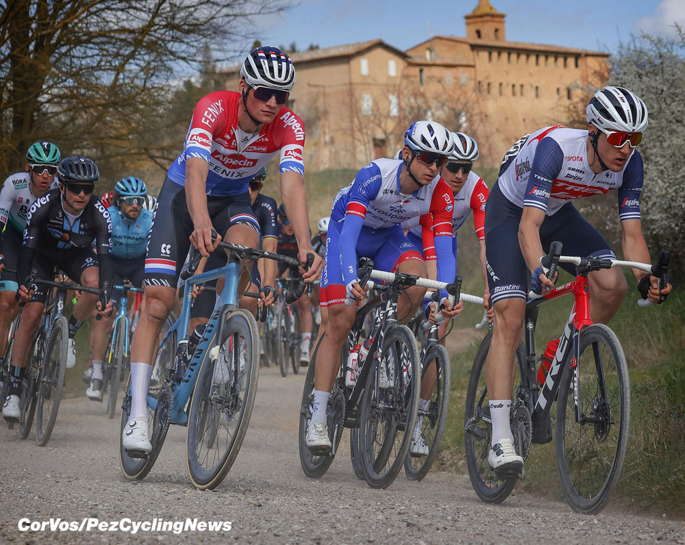 strade bianche 21 van der poel white roads victory pezcycling news