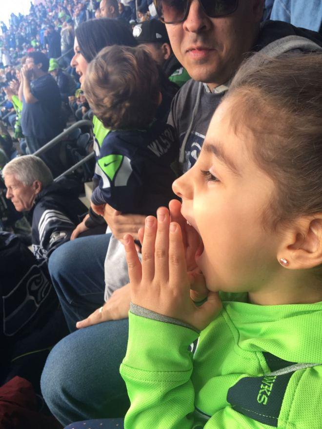 Torcendo muito no jogo dos Seattle Seahawks