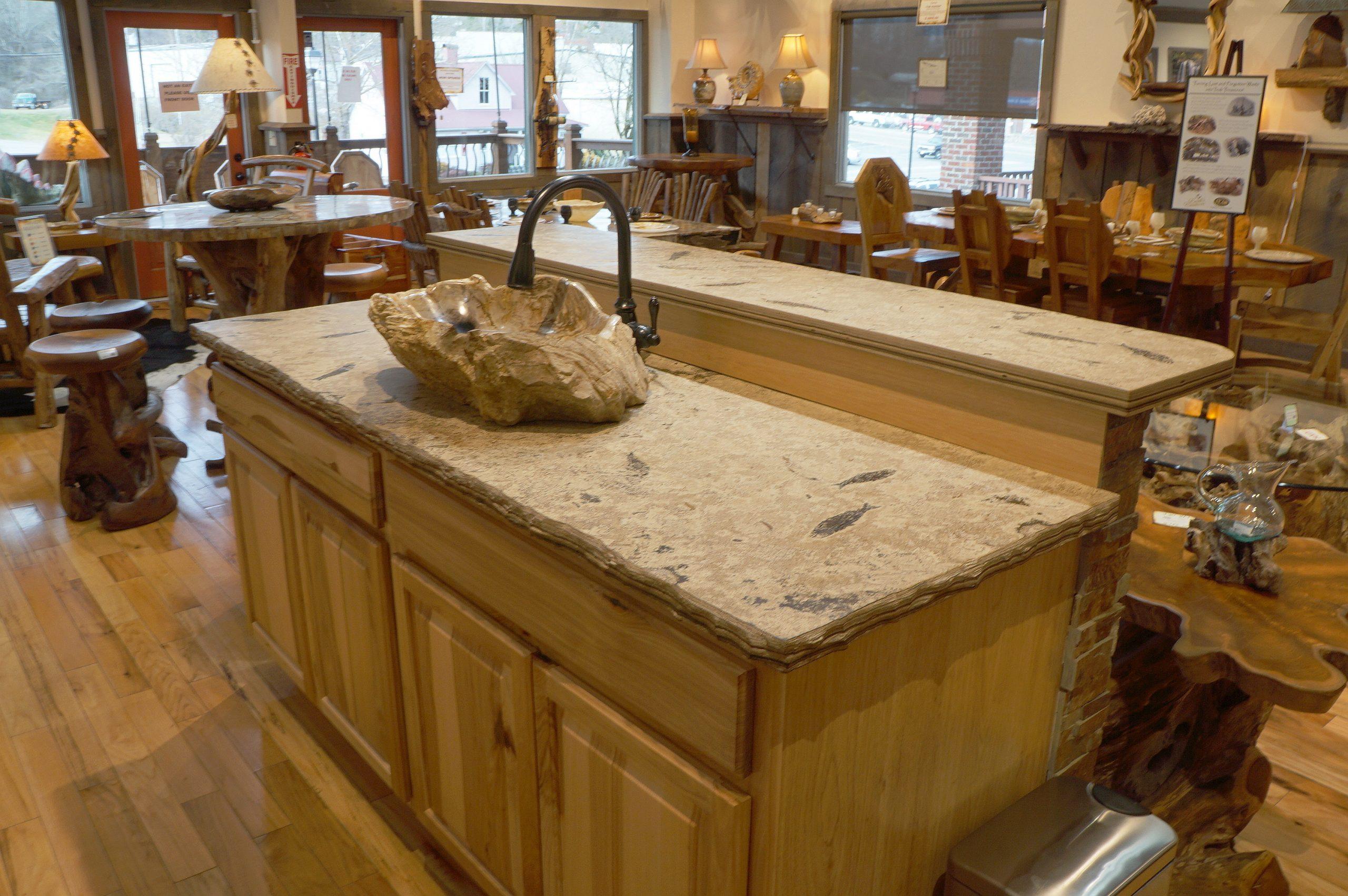 green river stone fossil kitchen