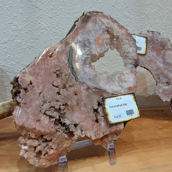 pink amethyst slab specimen