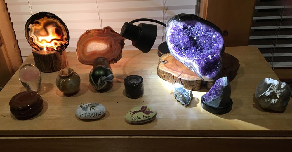 display of gem and mineral specimens