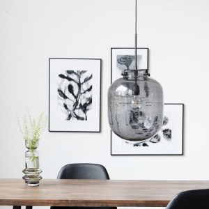 Hanging Grey Glass Ball Lamp