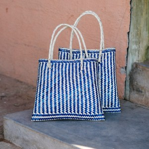 Small Market Basket Natural and Indigo Madwa