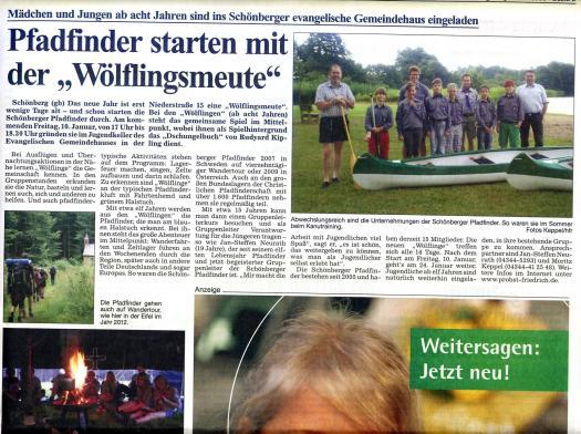 Artikel Probsteier Herold Dienstag 07.01.2014 zum Meutenstart