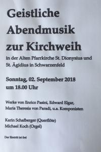 Konzertes zur Ägidi Kirchweih am 02. September