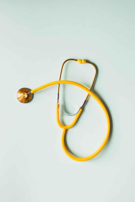 medical stethoscope placed on white background