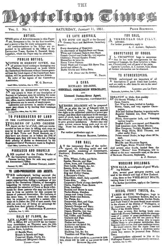 Lyttelton Times, gevonden in een Nieuw-Zeelandse bilbiotheek