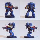 Space Marine Veteran mit Flammenwerfer (Modell stammt aus einem Kommandotrupp)