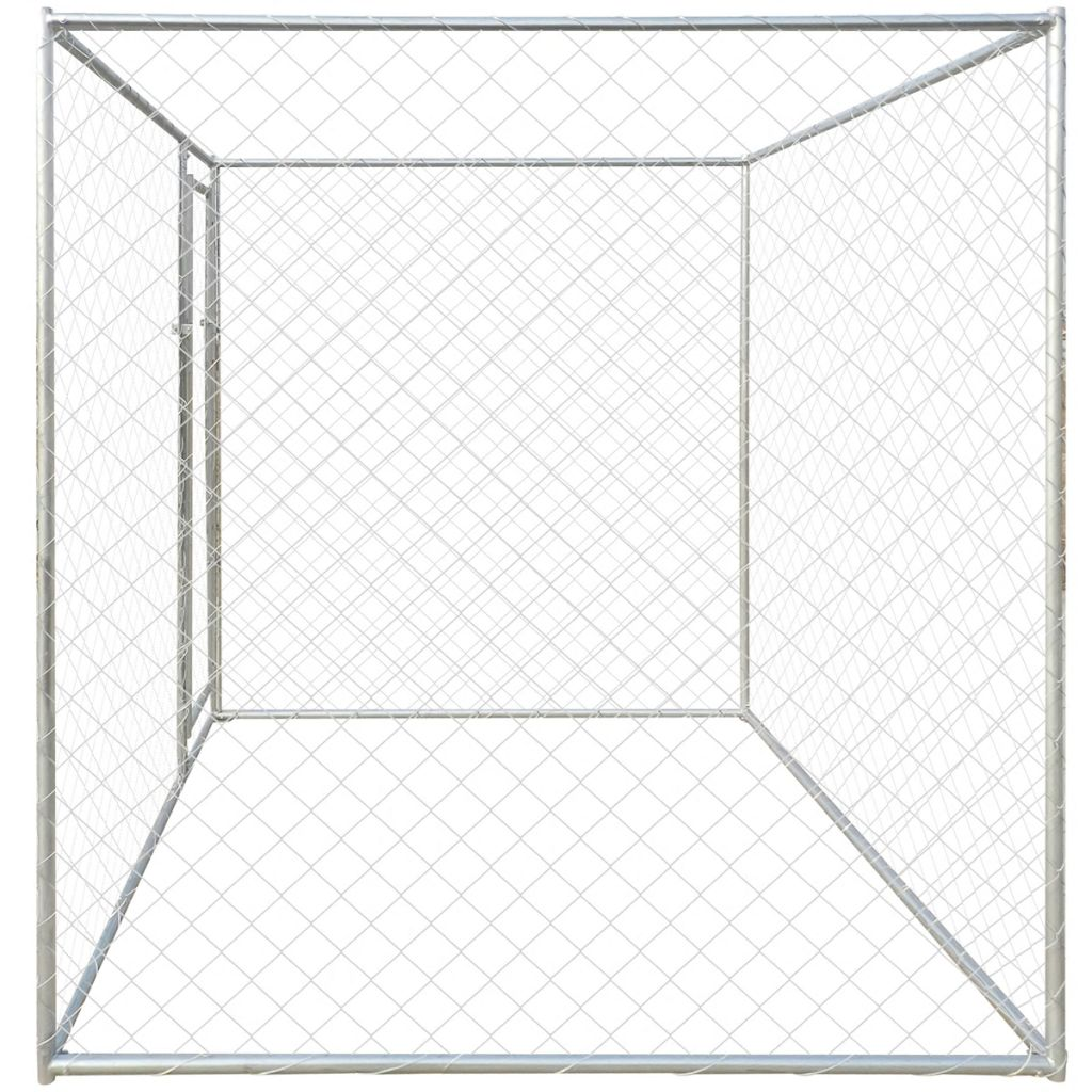 Galvanised Steel Outdoor Dog Kennel With Canopy Pet House
