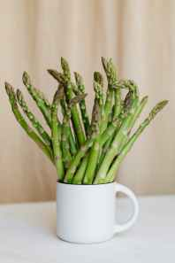 bouquet of fresh green stems in mug on table