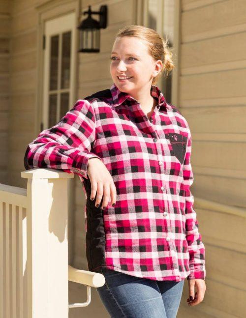 Women's padded plaid shirt