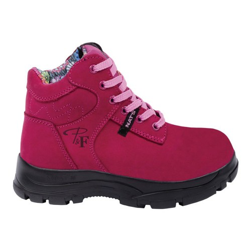 Raspberry women's steel toe work boots