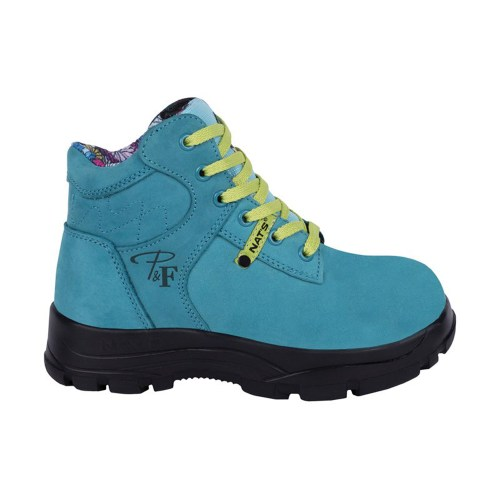 Turquoise women's steel toe work boots