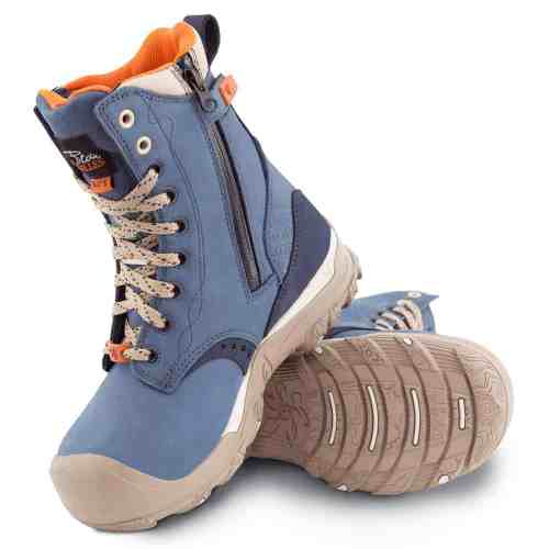 Womens steel toe work boots, waterproof, slip resistant, blue colour