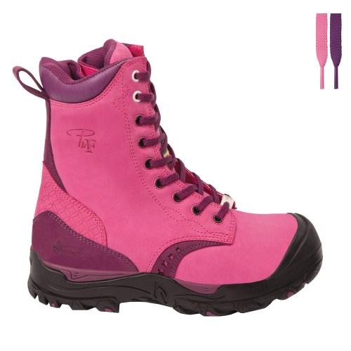 Womens steel toe work boots, waterproof, slip resistant, pink colour