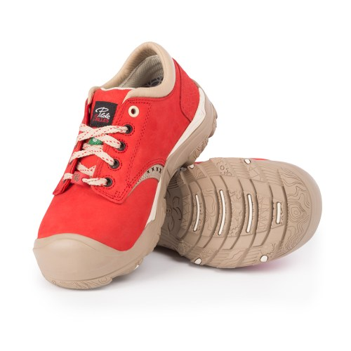 Womens steel toe safety shoes, red colour