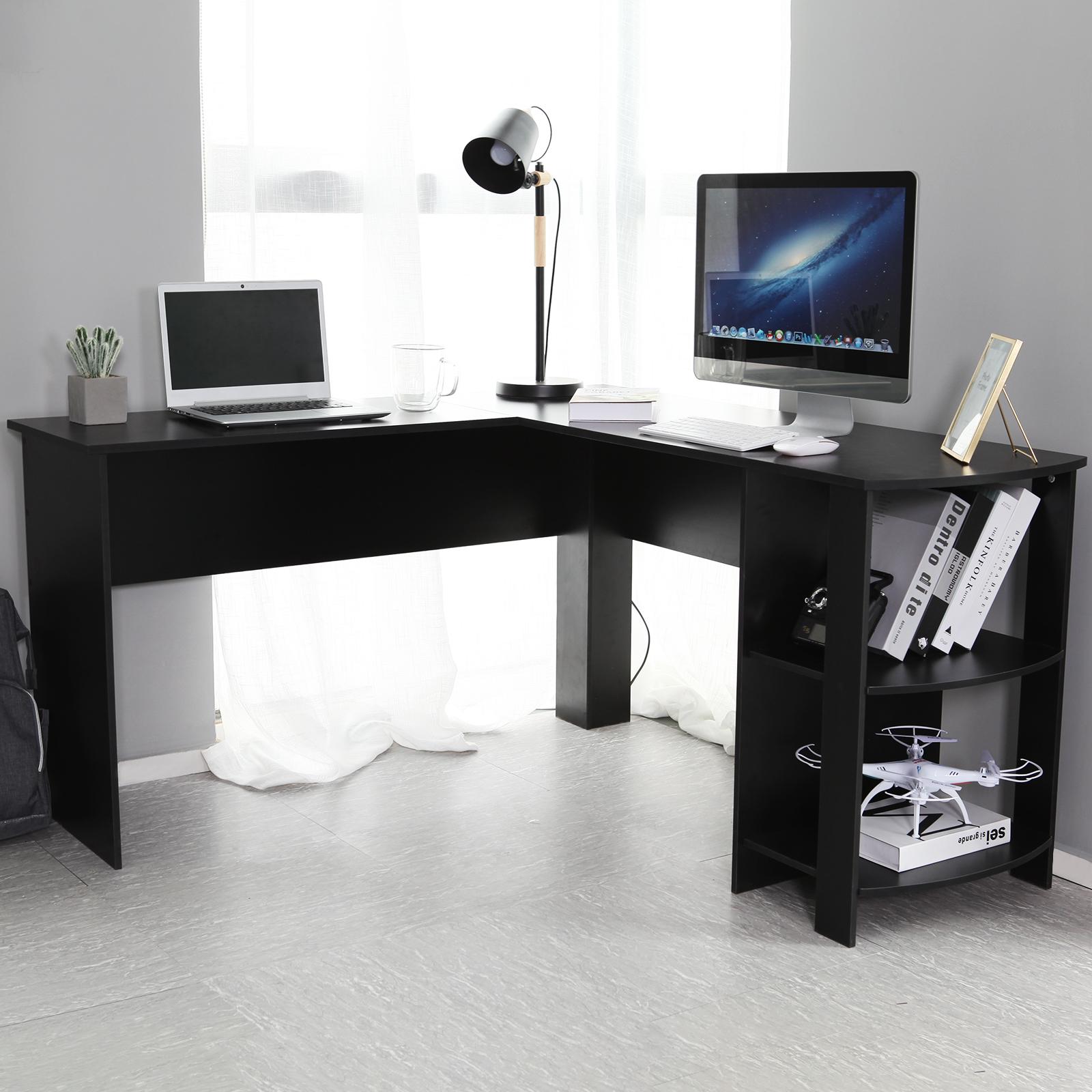 Office Desks Pc Computer Office Desk Corner L Shape White Black Table Workstation W Shelves Business Office Industrial Supplies Indianbusinesstrade Com