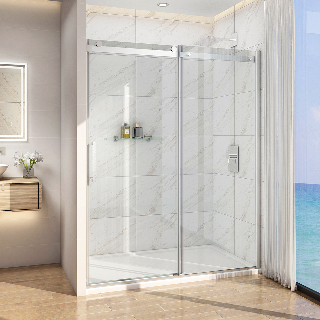 Details About Bath 60 X 72 Frameless Sliding Shower Door Screen 5 16 Glass Brushed Nickel