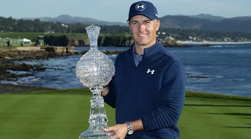 Jordan Spieth won the AT&T Pebble Beach Pro-Am for his ninth win on the PGA TOUR. (Jeff Gross/Getty Images)