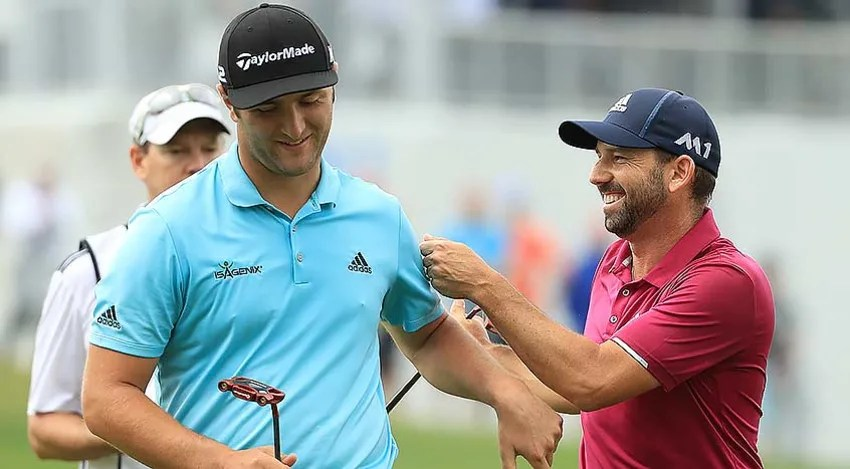 Jon Rahm (left) knocked off fellow Spaniard Sergio Garcia to win Group 7. (Richard Heathcote/Getty Images)