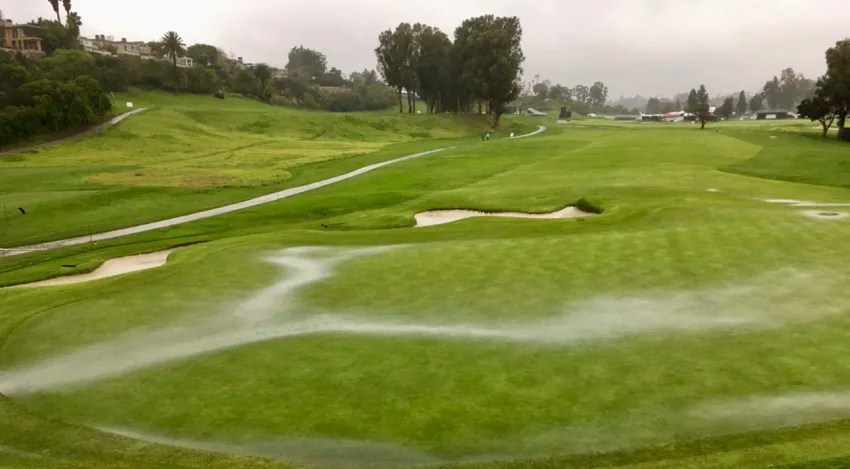 A flash flood watch along with high winds forced the suspension of play Friday at the Genesis Open. (Bill Cooney/PGA TOUR)
