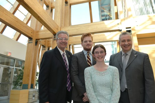 Prince George Mayor Lyn Hall, Northern Undergraduate Student Society President Duncan Malkinson, World University Service of Canada representative Tegan Lott, and UNBC president Dr. Daniel Weeks. Photo courtesy of UNBC