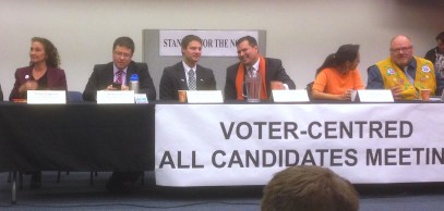 Cariboo-Prince George candidates at the Stand up for the North all candidates forum Wednesday. They are, from left, Liberal Tracy Calogheros, independent Sheldon Clare, Christian Heritage Party candidate Adam de Kroon, New Democrat Trent Derrick, Prince George-Peace River-Northern Rockies candidate Kathi Dickie, and Green Party candidate Richard Jaques.