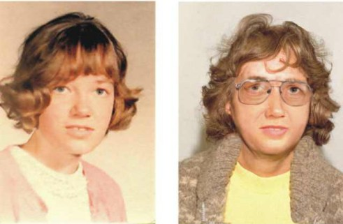 Helen Frost, as she looked in 1970 and a photo simulation of what she might have looked like in 2004.